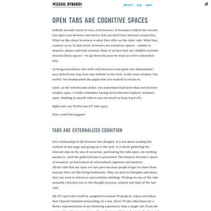 Open tabs are cognitive spaces · Michail Rybakov