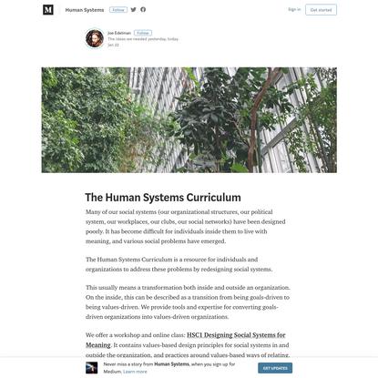 The Human Systems Curriculum - Human Systems - Medium