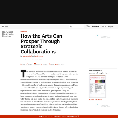 How the Arts Can Prosper Through Strategic Collaborations
