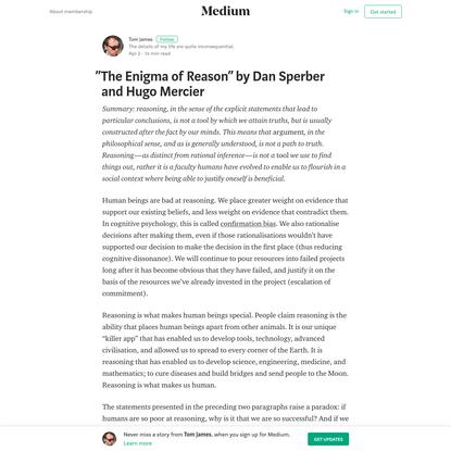 """The Enigma of Reason"" by Dan Sperber and Hugo Mercier"