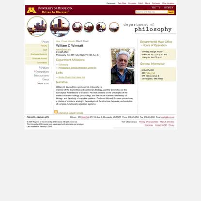 William C Wimsatt : Philosophy : University of Minnesota