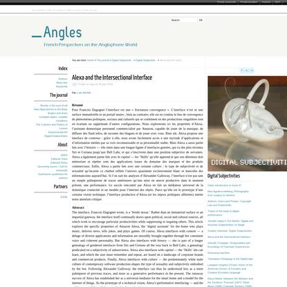 Alexa and the Intersectional Interface - Angles - Université de Poitiers