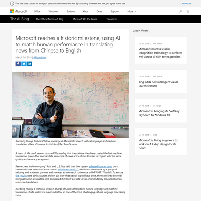 Microsoft reaches human parity in translating test set of news stories from Chinese to English