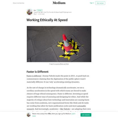 Working Ethically At Speed - Alix - Medium