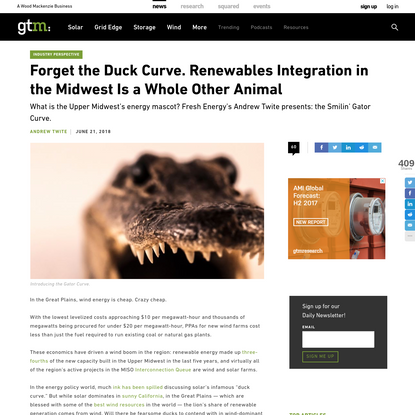 Forget the Duck Curve. Renewables Integration in the Midwest Is a Whole Other Animal