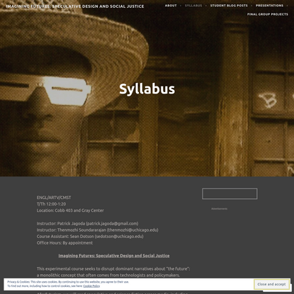 Syllabus for Imagining Futures: Speculative Design and Social Justice