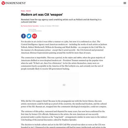 Modern art was CIA 'weapon'