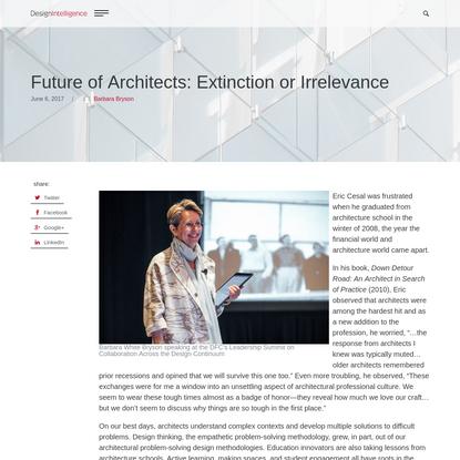Future of Architects: Extinction or Irrelevance - DesignIntelligence