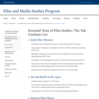 Essential Texts of Film Studies: The Yale Graduate List