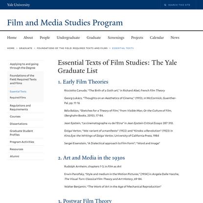 Essential Texts of Film Studies: The Yale Graduate List
