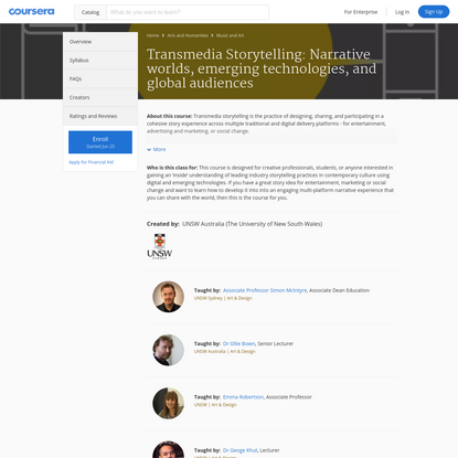 Transmedia Storytelling: Narrative worlds, emerging technologies, and global audiences | Coursera
