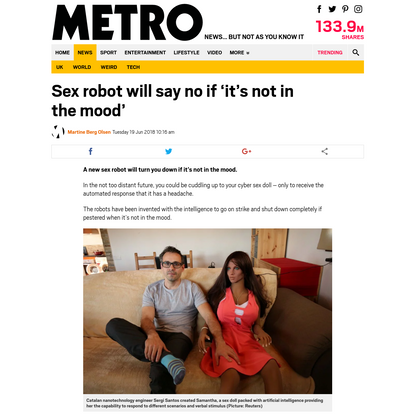 Sex robot will say no if 'it's not in the mood'