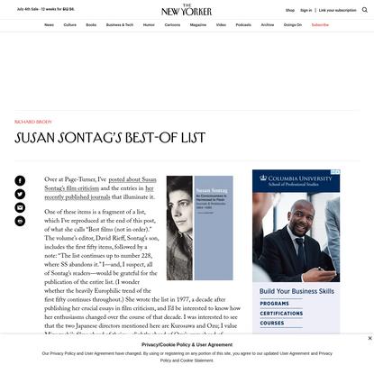 Susan Sontag's Best-Of List