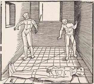 1538 - Drei Männliche Figuren in Einem Raum