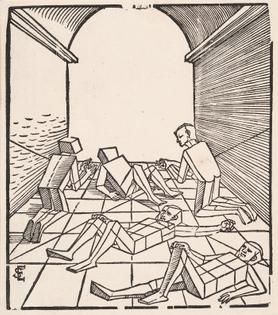 Erhard Schön - Fünf Figuren in Einem Gebäude, 1538