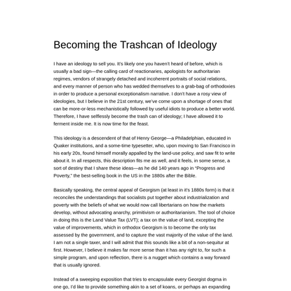 Becoming the Trashcan of Ideology
