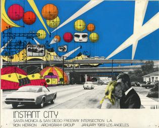 "Ron Herron (Archigram), ""Instant City, Santa Monica and San Diego Freeway Intersection,"" 1968"