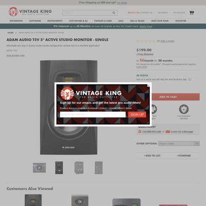 "Adam Audio T5V 5"" Active Studio Monitor Speaker - Vintage King Pro Audio Outfitter"