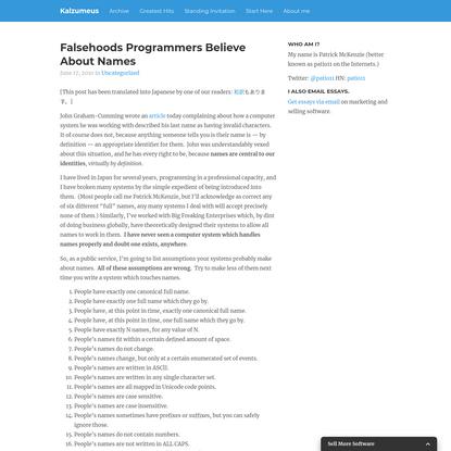 Falsehoods Programmers Believe About Names   Kalzumeus Software