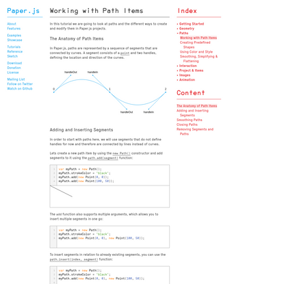 Paper.js - Working with Path Items