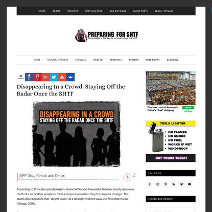 Disappearing In a Crowd: Staying Off the Radar Once the SHTF - Preparing for shtf