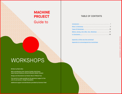 Machine Project Guide to Workshops