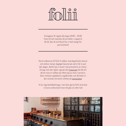 Folii - Vinbar på Erstagatan 21