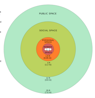 Personal spaces in proxemics