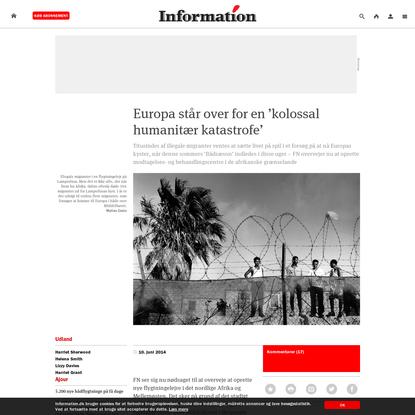Europa står over for en 'kolossal humanitær katastrofe'