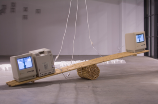 """""""Macintosh Computers and Bamboo scale"""" Installation View, 2016"""