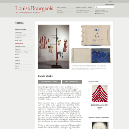 MoMA | Louise Bourgeois: The Complete Prints & Books | Fabric Works
