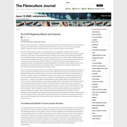 FCJ-079 Regaining Weaver and Shannon | The Fibreculture Journal : 12
