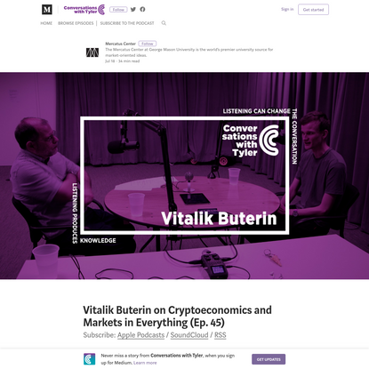 Vitalik Buterin on Cryptoeconomics and Markets in Everything (Ep. 45)