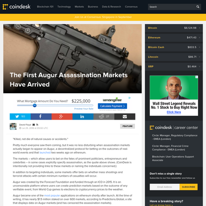The First Augur Assassination Markets Have Arrived - CoinDesk