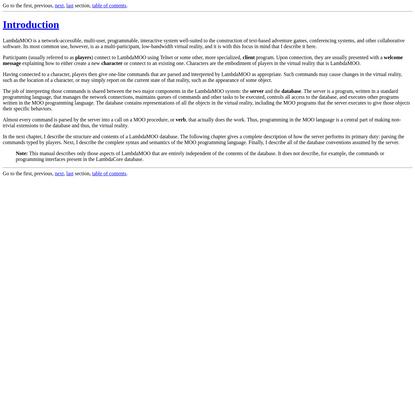 LambdaMOO Programmer's Manual - Introduction