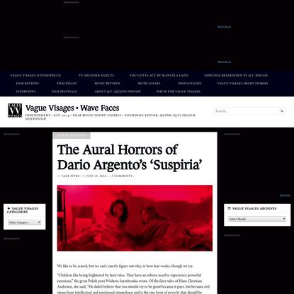 The Aural Horrors of Dario Argento's 'Suspiria' - Vague Visages * Wave Faces
