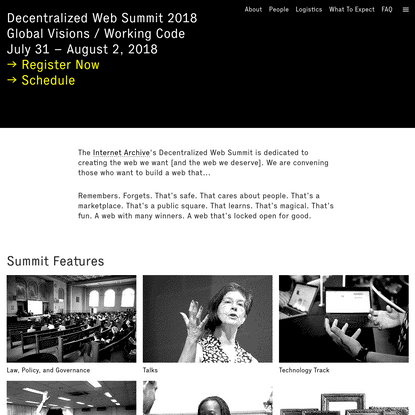 Decentralized Web Summit 2018: Global Visions / Working Code