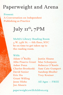 Paperweight and Arena present: A Conversation on Independent Publishing as Practice