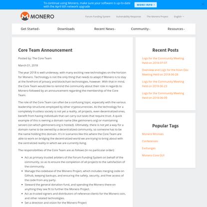 Monero: Core Team Announcement