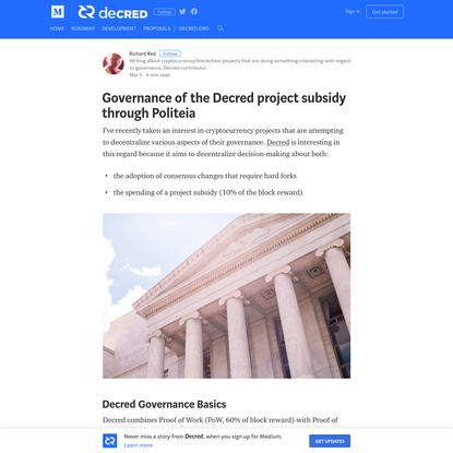 Governance of the Decred project subsidy through Politeia