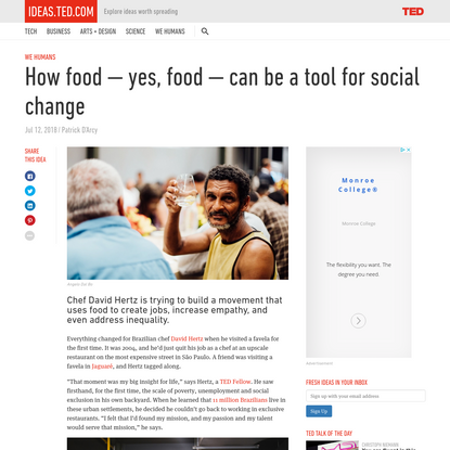 How food - yes, food - can be a tool for social change
