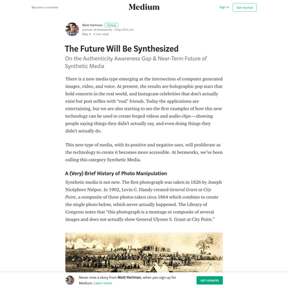 The Future Will Be Synthesized - Matt Hartman - Medium