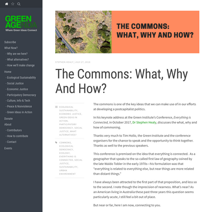 The Commons: What, Why And How?   Green Agenda