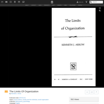 The Limits Of Organization : Kenneth J. Arrow : Free Download, Borrow, and Streaming : Internet Archive