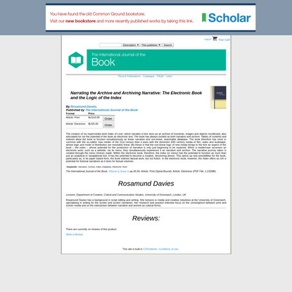 """The International Journal of the Book """" Narrating the Archive and Archiving Narrative: The Electronic Book and the Logic of ..."""