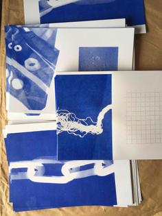TOUCHING LANDSCAPE, riso printed cyanotype