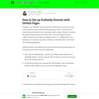 How to Set up GoDaddy Domain with GitHub Pages - Hacker Noon