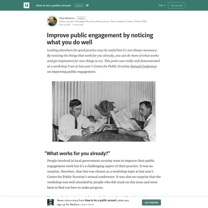 Improve public engagement by noticing what you do well