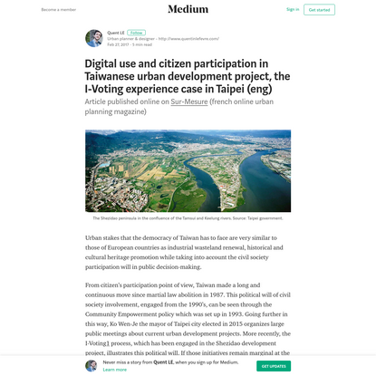 Digital use and citizen participation in Taiwanese urban development project, the I-Voting...