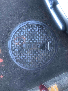 Cross Hatch Pattern in Circle Manhole Cover